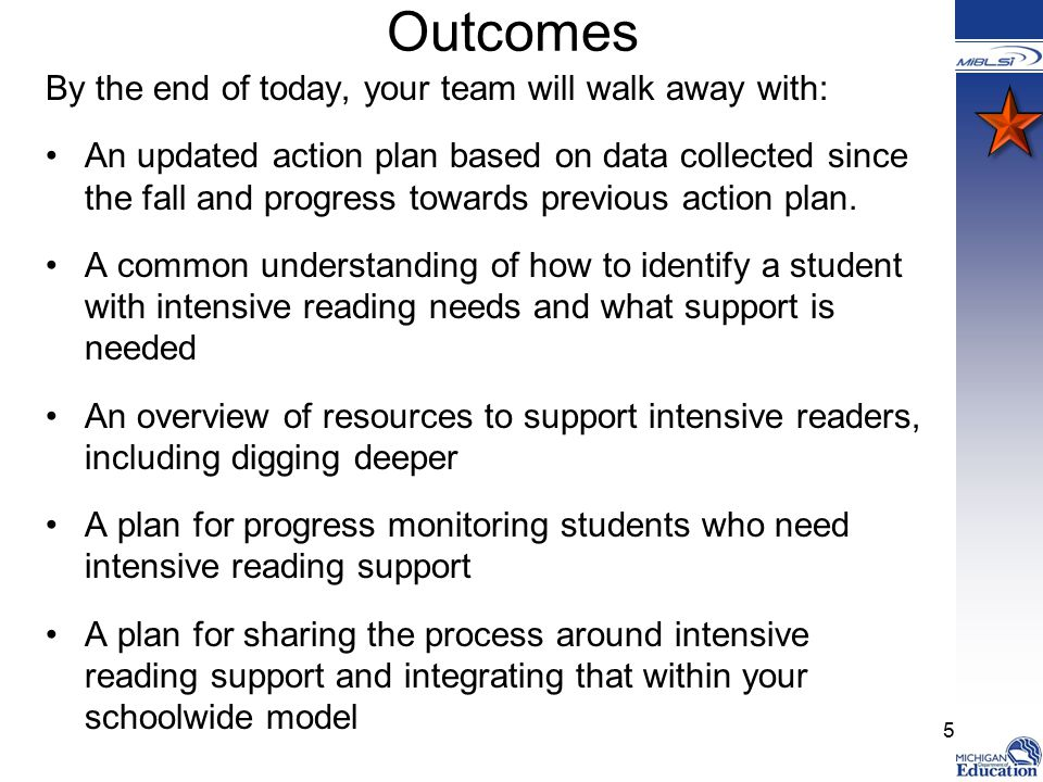 Outcomes By the end of today, your team will walk away with: An updated action plan based on data collected since the fall and progress towards previous action plan.