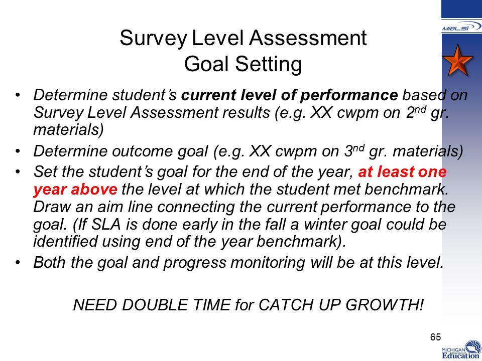 Survey Level Assessment Goal Setting Determine student's current level of performance based on Survey Level Assessment results (e.g.