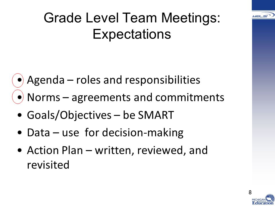 Grade Level Team Meetings: Expectations Agenda – roles and responsibilities Norms – agreements and commitments Goals/Objectives – be SMART Data – use for decision-making Action Plan – written, reviewed, and revisited 8