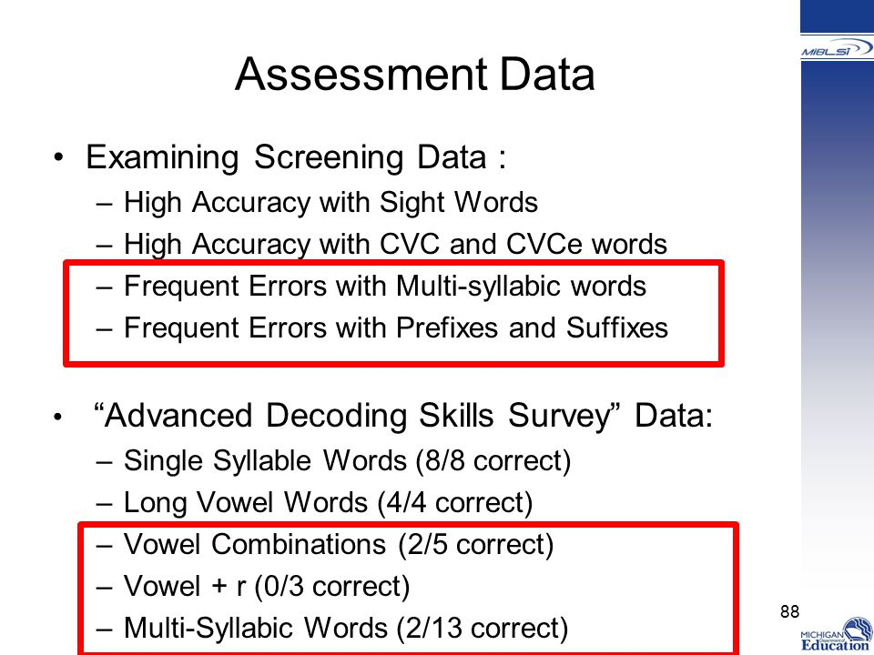 Assessment Data Examining Screening Data : –High Accuracy with Sight Words –High Accuracy with CVC and CVCe words –Frequent Errors with Multi-syllabic words –Frequent Errors with Prefixes and Suffixes Advanced Decoding Skills Survey Data: –Single Syllable Words (8/8 correct) –Long Vowel Words (4/4 correct) –Vowel Combinations (2/5 correct) –Vowel + r (0/3 correct) –Multi-Syllabic Words (2/13 correct) 88