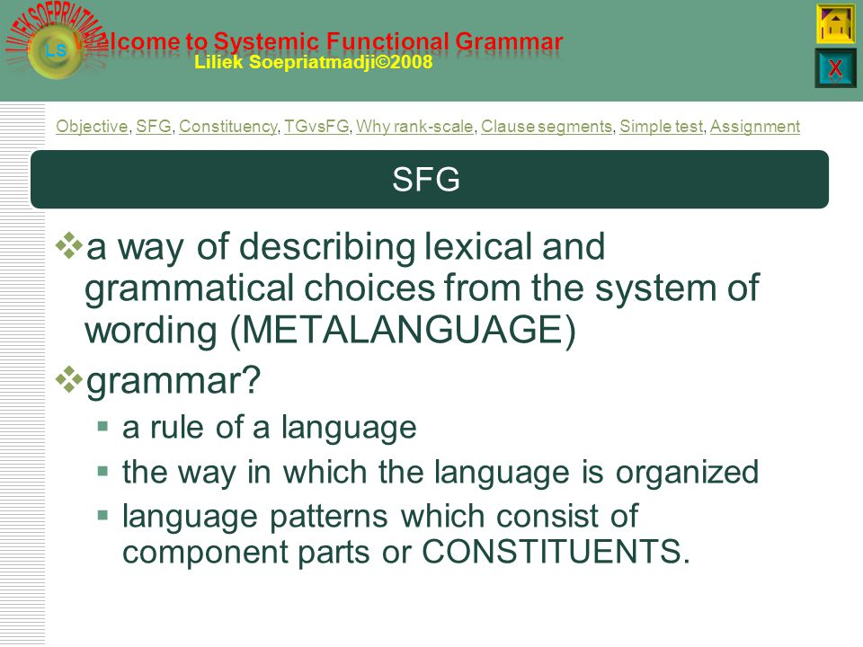 LS Liliek Soepriatmadji©2008 2. Objective: SFG  know what systemic functional grammar is  know what constituent is  have worked with practices in b