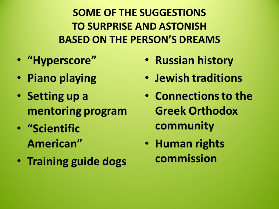 SOME OF THE SUGGESTIONS TO SURPRISE AND ASTONISH BASED ON THE PERSON'S DREAMS Hyperscore Piano playing Setting up a mentoring program Scientific American Training guide dogs Russian history Jewish traditions Connections to the Greek Orthodox community Human rights commission
