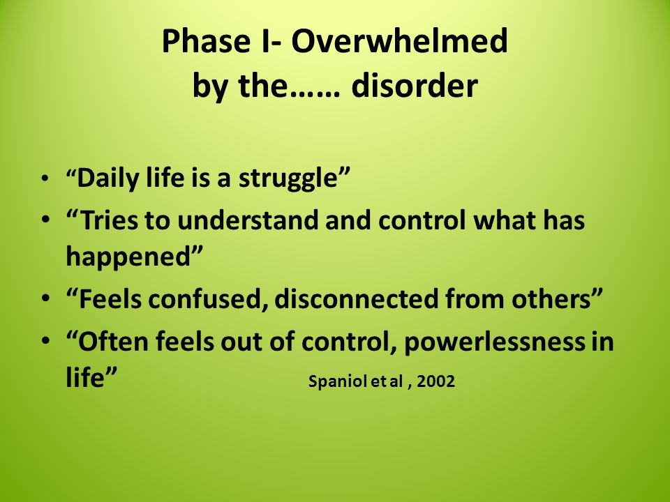 Phase I- Overwhelmed by the…… disorder Daily life is a struggle Tries to understand and control what has happened Feels confused, disconnected from others Often feels out of control, powerlessness in life Spaniol et al, 2002