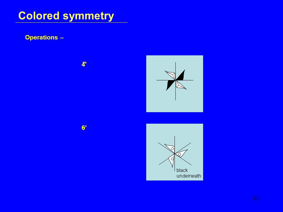 13 Colored symmetry Operations – 4 6 black underneath