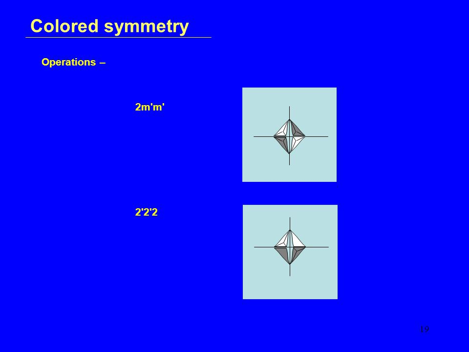 19 Colored symmetry Operations – 2m m 2 2 2