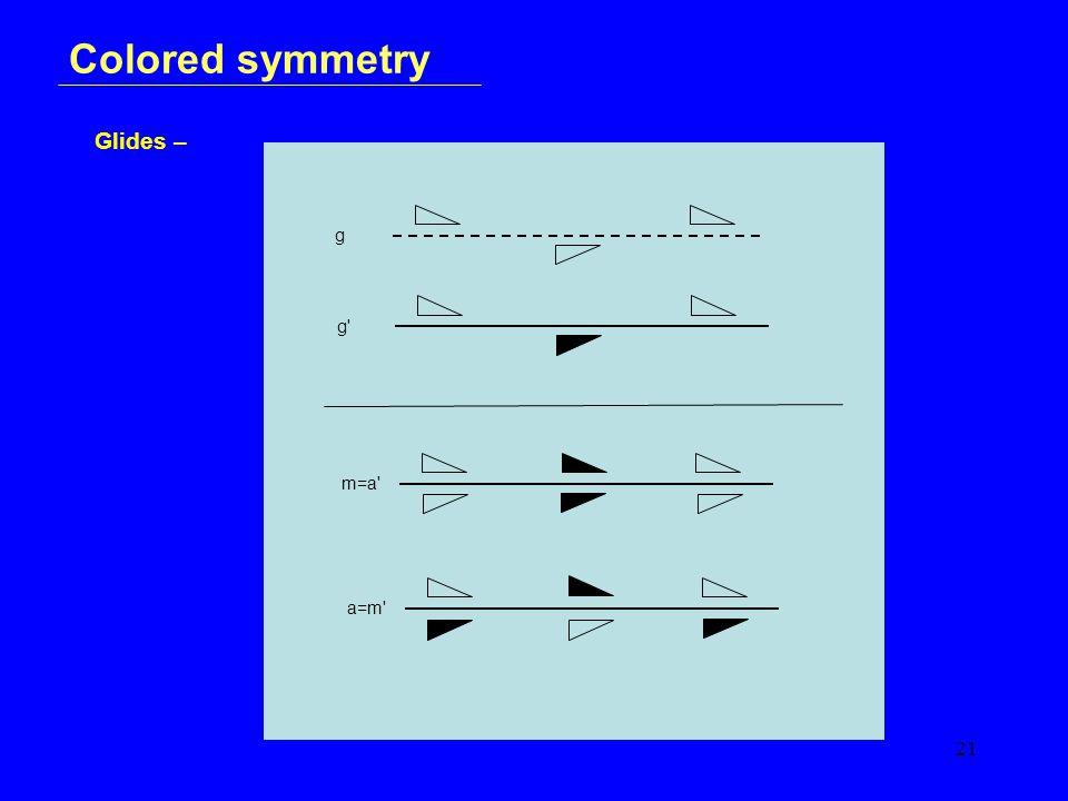 21 Colored symmetry Glides – g g m=a a=m