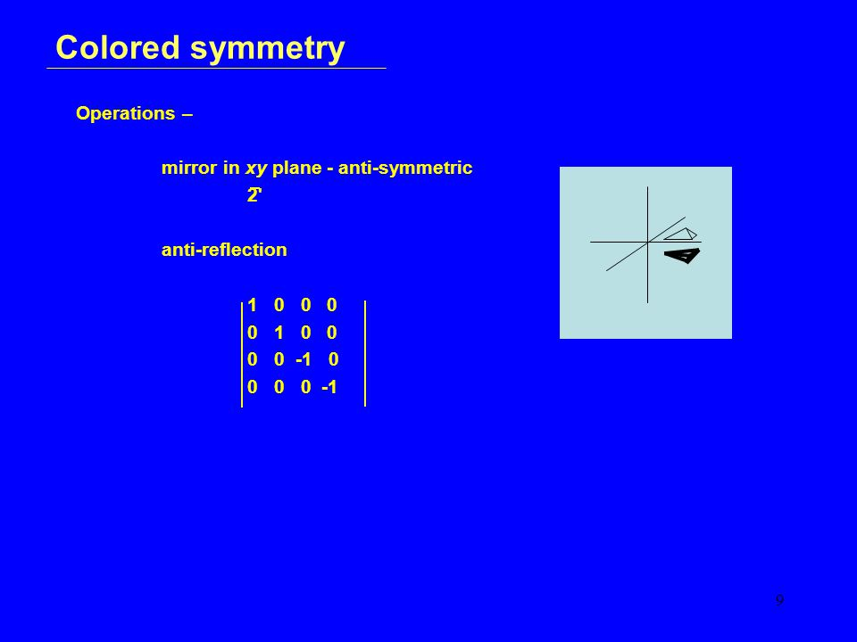 9 Colored symmetry Operations – mirror in xy plane - anti-symmetric 2 anti-reflection 1 0 0 0 0 1 0 0 0 0 -1 0 0 0 0 -1
