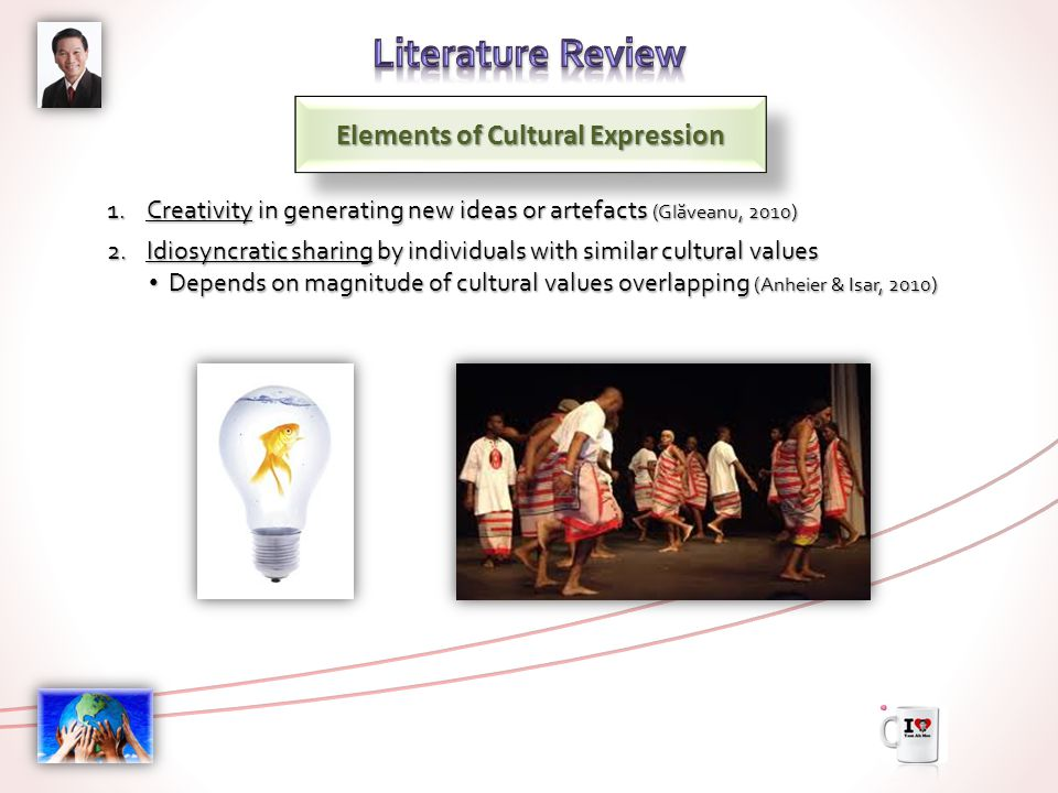 Cultural Expression Expression of ideas that come from the creative inputs of individuals, groups, or societies that possess some form of cultural content (United Nations Educational, Scientific and Cultural Organisation, 2005) Expression of ideas that come from the creative inputs of individuals, groups, or societies that possess some form of cultural content (United Nations Educational, Scientific and Cultural Organisation, 2005)