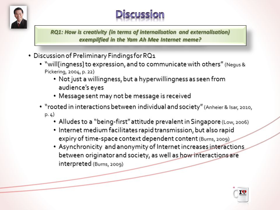 RQ1: How is creativity (in terms of internalisation and externalisation) exemplified in the Yam Ah Mee Internet meme? Summary of Preliminary Findings