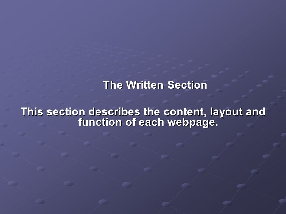 Homepage Content – This page is built in a nested table, there are large text for the main heading and the smaller heading, the smaller heading is in italics.