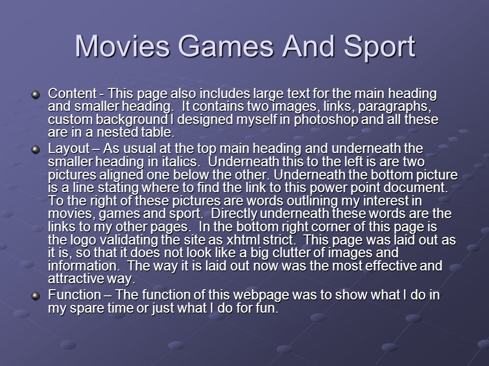 Movies Games And Sport Content - This page also includes large text for the main heading and smaller heading.