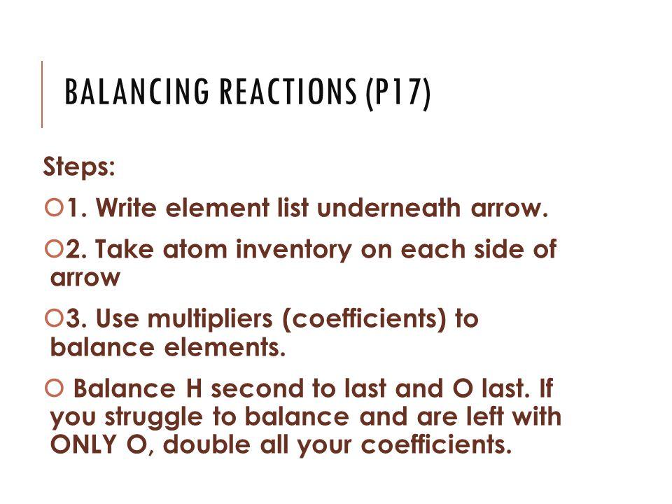 BALANCING REACTIONS (P17) Steps:  1. Write element list underneath arrow.