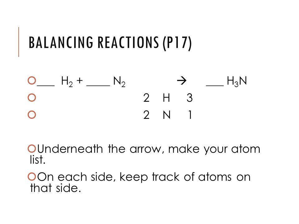 BALANCING REACTIONS (P17)  ___ H 2 + ____ N 2  ___ H 3 N  2 H 3  2 N 1  Underneath the arrow, make your atom list.