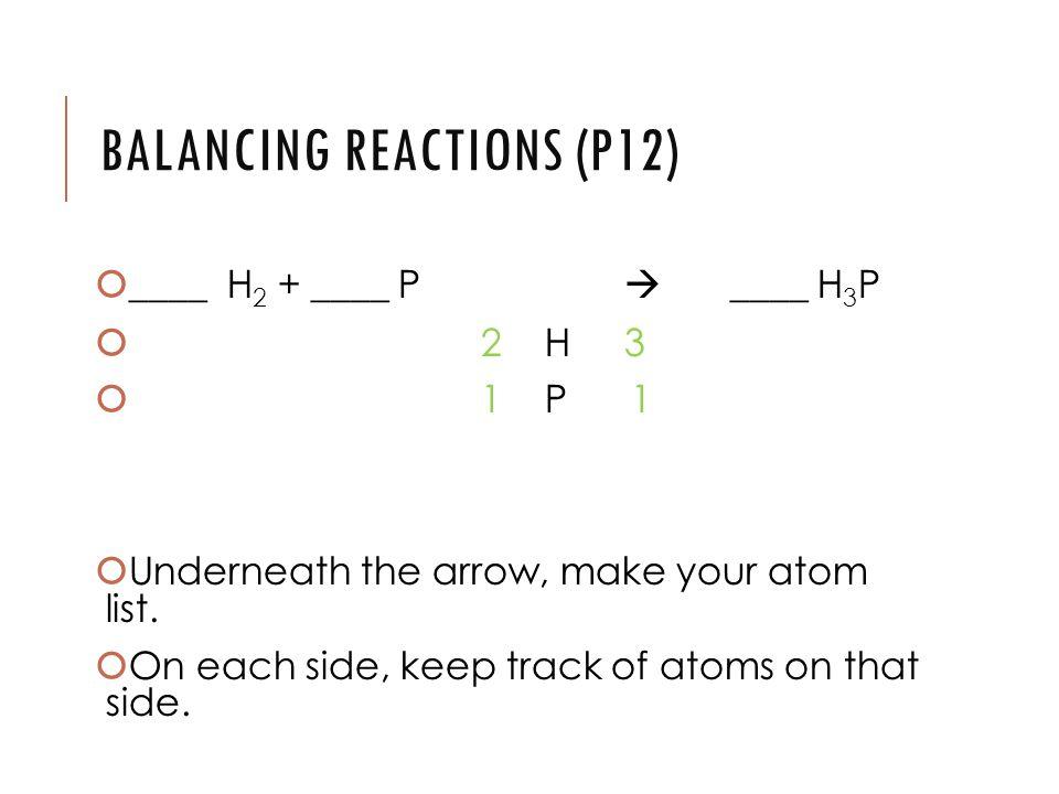 _____ H 2 + ____ P  ____ H 3 P  2 H 3  1 P 1 UUnderneath the arrow, make your atom list.