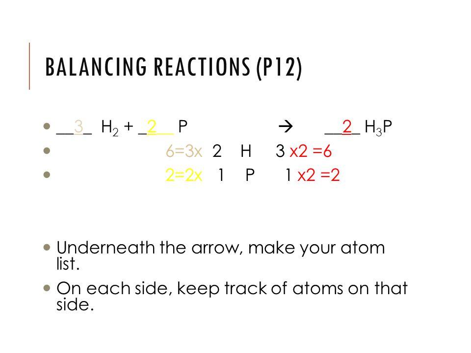 BALANCING REACTIONS (P12) __3_ H 2 + _2__ P  __2_ H 3 P 6=3x 2 H 3 x2 =6 2=2x 1 P 1 x2 =2 Underneath the arrow, make your atom list.