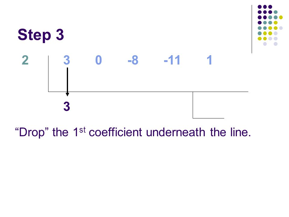 """Step 3 2 """"Drop"""" the 1 st coefficient underneath the line. 3 0 -8 -11 1 3"""