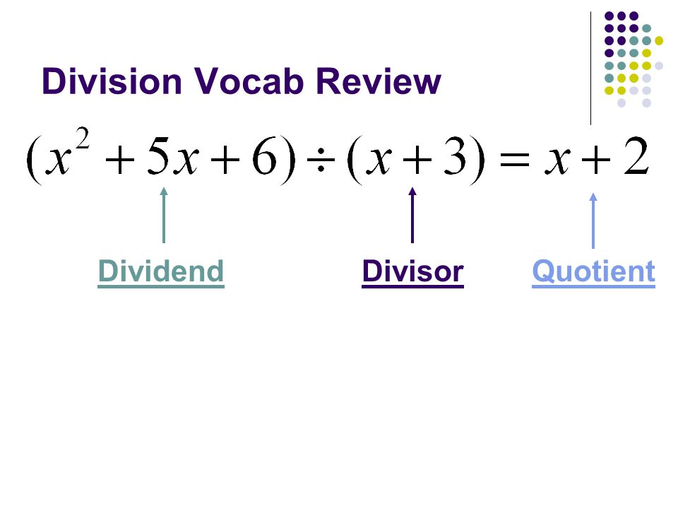 Division Vocab Review DividendDivisorQuotient