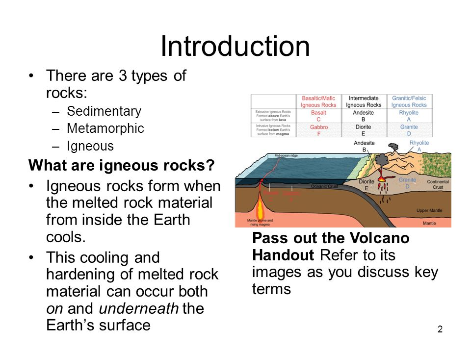 2 Introduction There are 3 types of rocks: –Sedimentary –Metamorphic –Igneous What are igneous rocks.