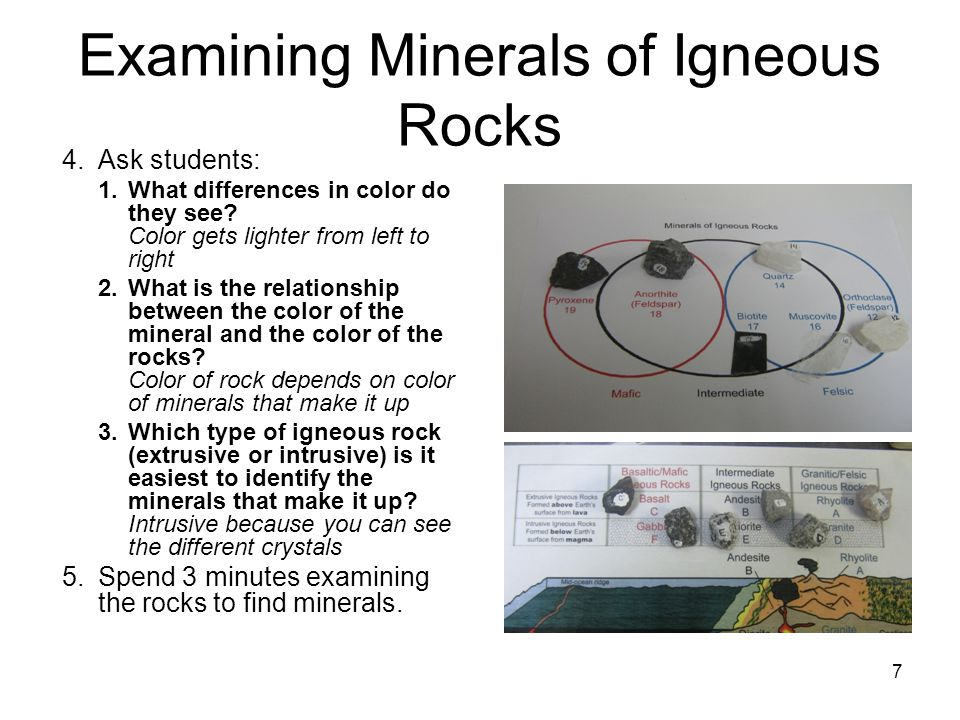 7 Examining Minerals of Igneous Rocks 4.Ask students: 1.What differences in color do they see? Color gets lighter from left to right 2.What is the rel