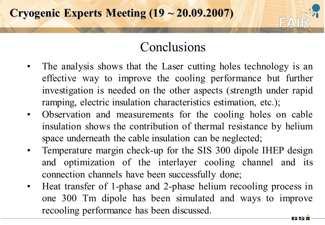 The analysis shows that the Laser cutting holes technology is an effective way to improve the cooling performance but further investigation is needed on the other aspects (strength under rapid ramping, electric insulation characteristics estimation, etc.); Observation and measurements for the cooling holes on cable insulation shows the contribution of thermal resistance by helium space underneath the cable insulation can be neglected; Temperature margin check-up for the SIS 300 dipole IHEP design and optimization of the interlayer cooling channel and its connection channels have been successfully done; Heat transfer of 1-phase and 2-phase helium recooling process in one 300 Tm dipole has been simulated and ways to improve recooling performance has been discussed.