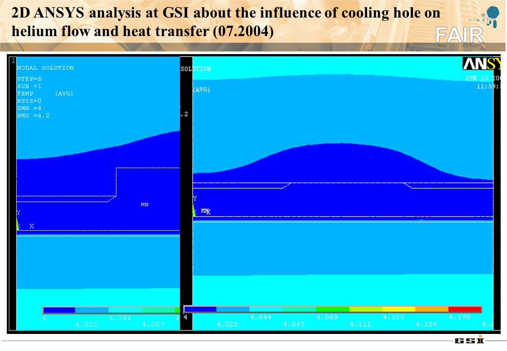 2D ANSYS analysis at GSI about the influence of cooling hole on helium flow and heat transfer (07.2004)