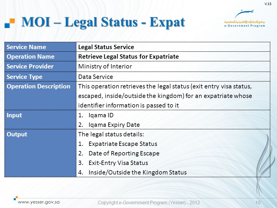 V.15 10 Service NameLegal Status Service Operation NameRetrieve Legal Status for Expatriate Service ProviderMinistry of Interior Service TypeData Serv