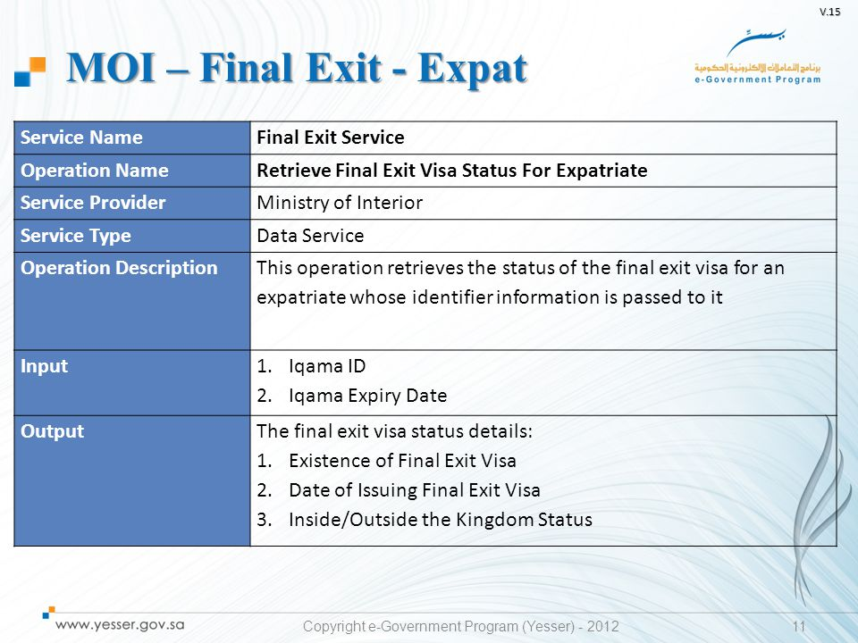 V.15 11 Service NameFinal Exit Service Operation NameRetrieve Final Exit Visa Status For Expatriate Service ProviderMinistry of Interior Service TypeD