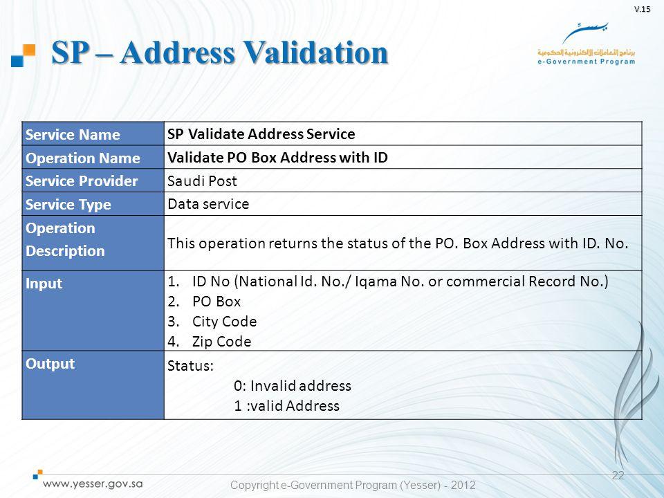V.15 22 Service Name SP Validate Address Service Operation Name Validate PO Box Address with ID Service Provider Saudi Post Service Type Data service Operation Description This operation returns the status of the PO.
