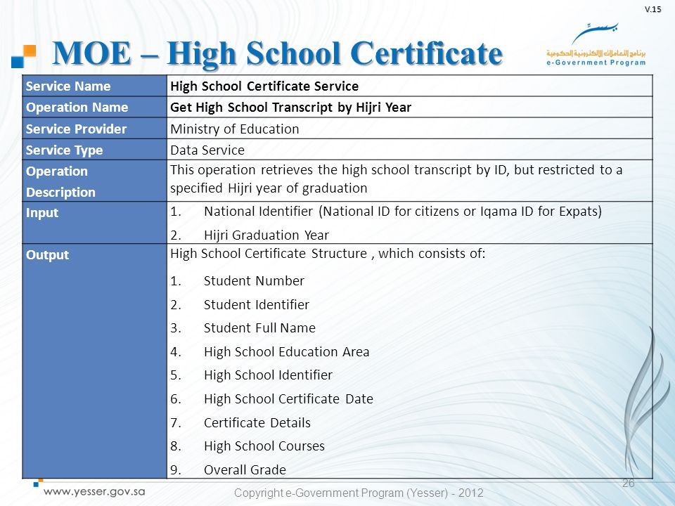 V.15 26 Service NameHigh School Certificate Service Operation NameGet High School Transcript by Hijri Year Service ProviderMinistry of Education Servi