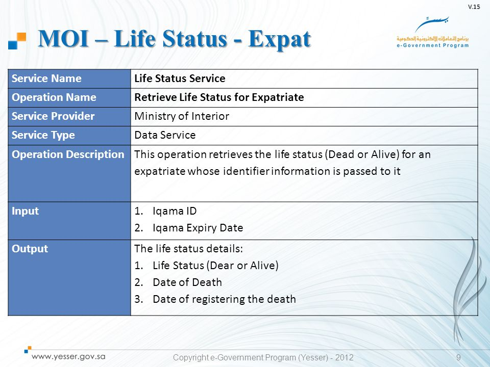 V.15 10 Service NameLegal Status Service Operation NameRetrieve Legal Status for Expatriate Service ProviderMinistry of Interior Service TypeData Service Operation Description This operation retrieves the legal status (exit entry visa status, escaped, inside/outside the kingdom) for an expatriate whose identifier information is passed to it Input 1.Iqama ID 2.Iqama Expiry Date OutputThe legal status details: 1.Expatriate Escape Status 2.Date of Reporting Escape 3.Exit-Entry Visa Status 4.Inside/Outside the Kingdom Status MOI – Legal Status - Expat Copyright e-Government Program (Yesser) - 2012