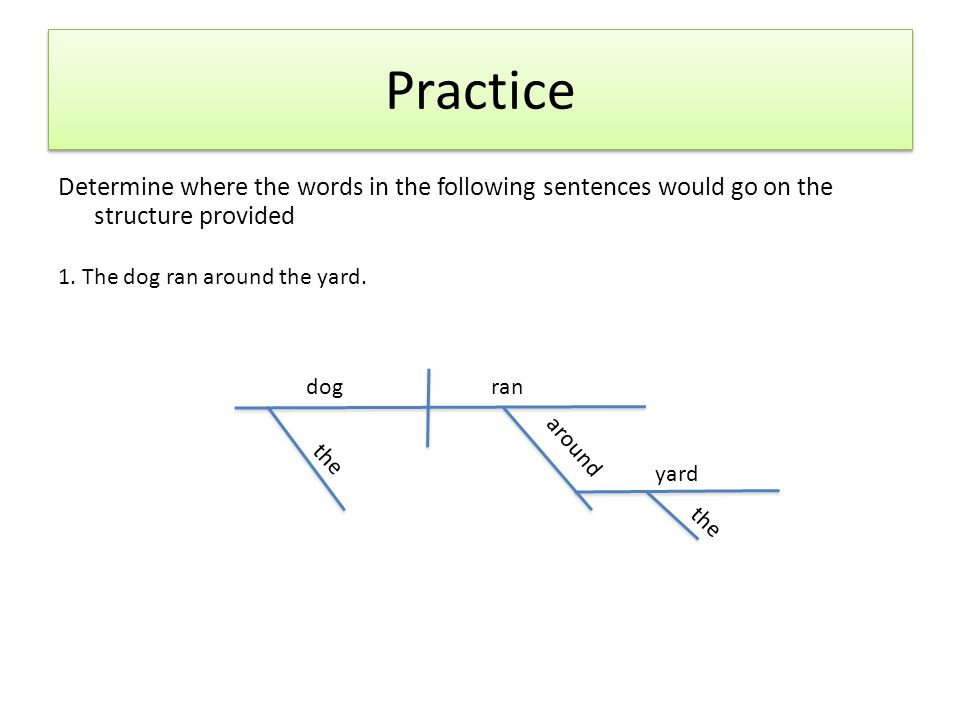 Practice Determine where the words in the following sentences would go on the structure provided 1. The dog ran around the yard. dogran the around yar
