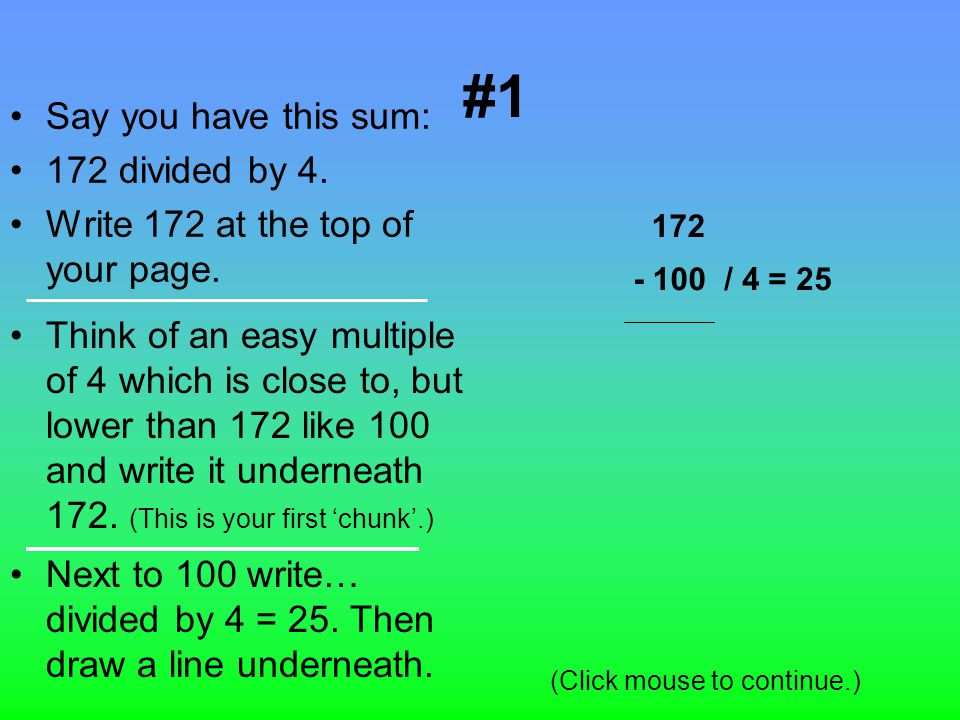 The Aim Of The Presentation The aim of this presentation is to teach others the division method of chunking in 4 simple steps.
