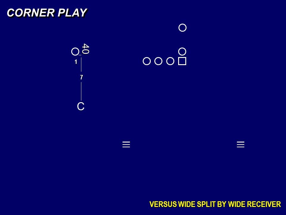 C 7 CORNER PLAY VERSUS WIDE SPLIT BY WIDE RECEIVER _ _ _ _ _ _ 40 1