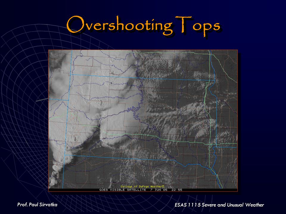 Prof. Paul Sirvatka ESAS 1115 Severe and Unusual Weather Overshooting Tops