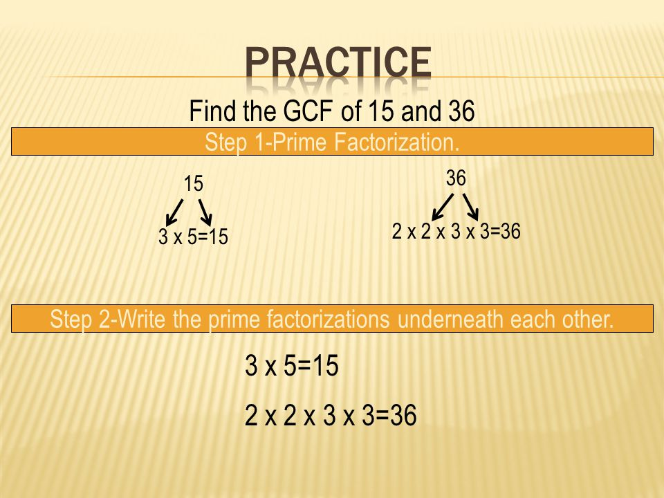 Find the GCF of 15 and 36 Step 1-Prime Factorization.