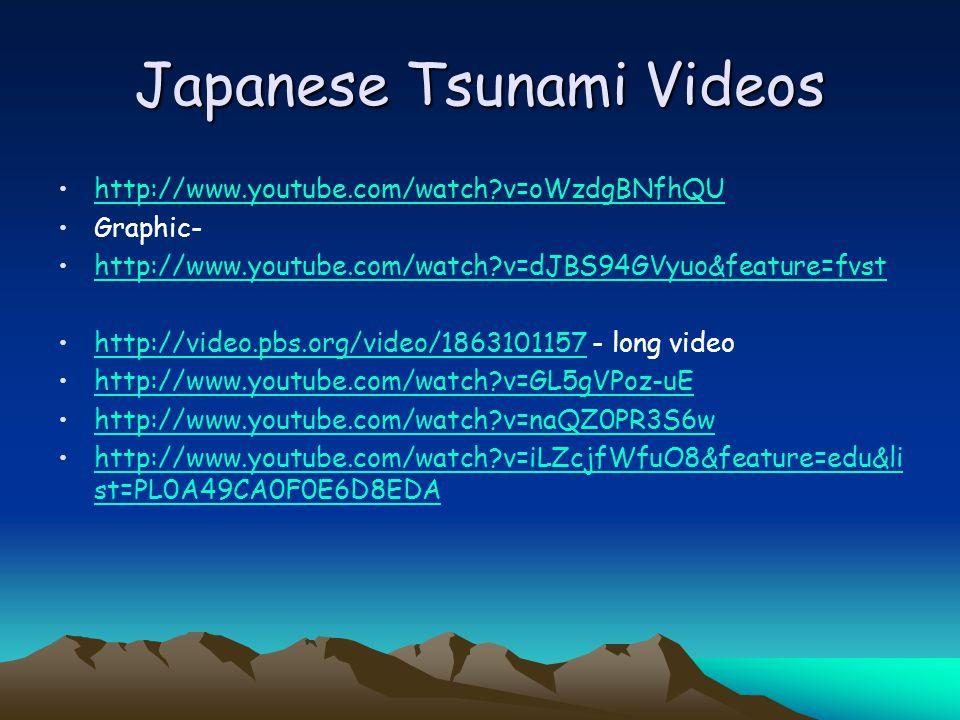 Japanese Tsunami Videos http://www.youtube.com/watch v=oWzdgBNfhQU Graphic- http://www.youtube.com/watch v=dJBS94GVyuo&feature=fvst http://video.pbs.org/video/1863101157 - long videohttp://video.pbs.org/video/1863101157 http://www.youtube.com/watch v=GL5gVPoz-uE http://www.youtube.com/watch v=naQZ0PR3S6w http://www.youtube.com/watch v=iLZcjfWfuO8&feature=edu&li st=PL0A49CA0F0E6D8EDAhttp://www.youtube.com/watch v=iLZcjfWfuO8&feature=edu&li st=PL0A49CA0F0E6D8EDA