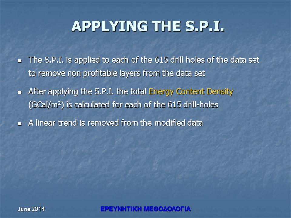 June 2014 ΕΡΕΥΝHΤΙΚΗ ΜΕΘΟΔΟΛΟΓΙΑ APPLYING THE S.P.I. The S.P.I. is applied to each of the 615 drill holes of the data set to remove non profitable lay