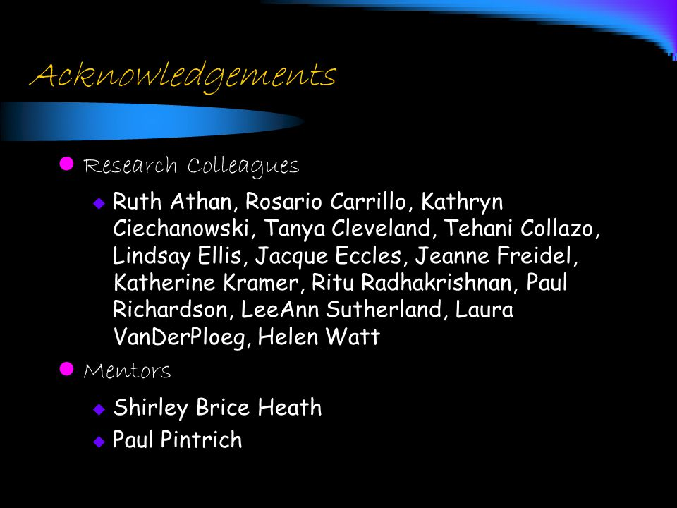 Acknowledgements Research Colleagues  Ruth Athan, Rosario Carrillo, Kathryn Ciechanowski, Tanya Cleveland, Tehani Collazo, Lindsay Ellis, Jacque Eccl