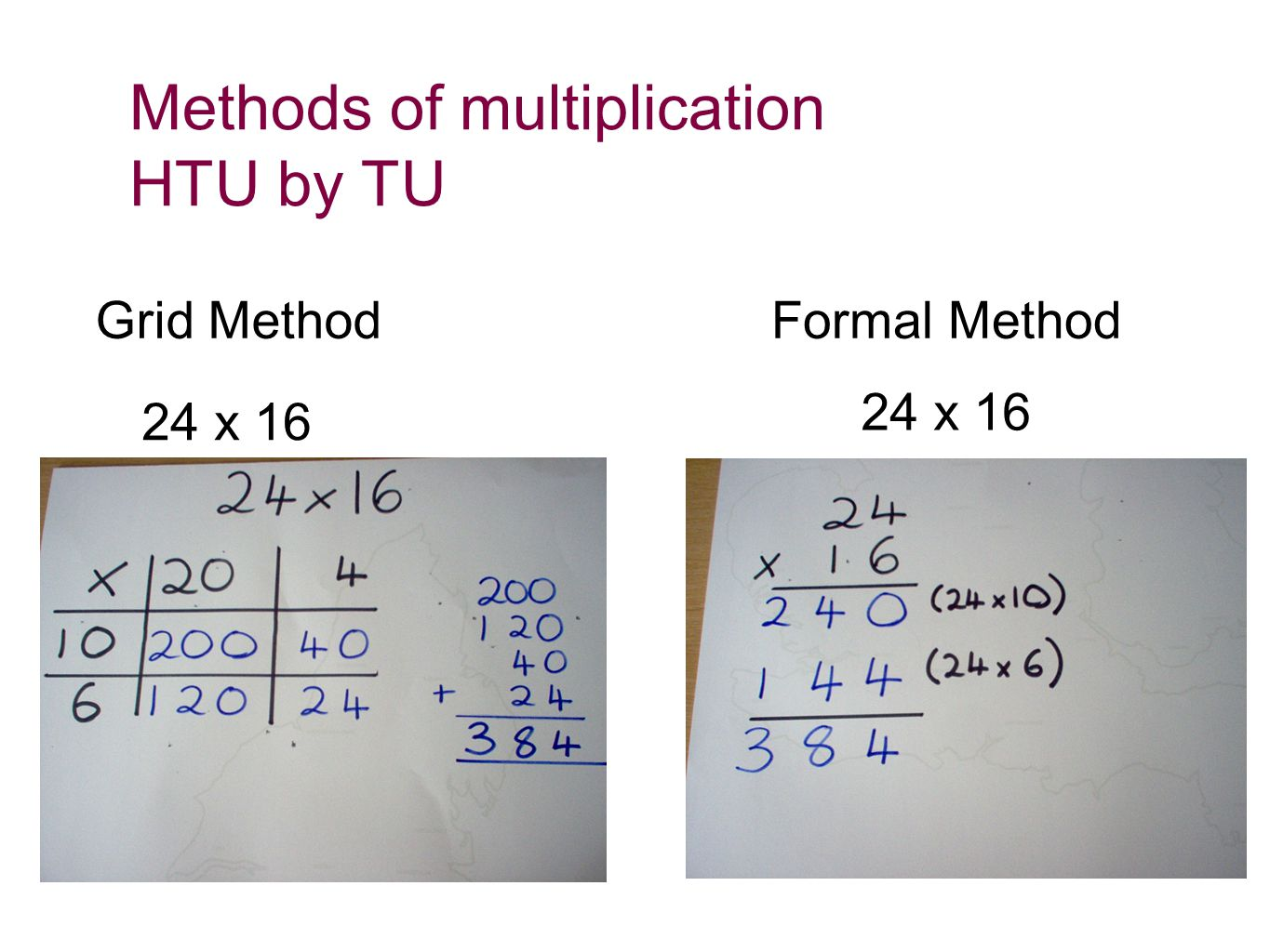 Methods of multiplication HTU by TU Grid MethodFormal Method 24 x 16