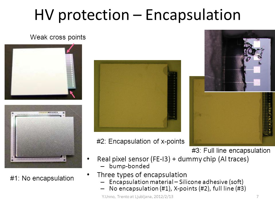 HV protection – Encapsulation Real pixel sensor (FE-I3) + dummy chip (Al traces) – bump-bonded Three types of encapsulation – Encapsulation material –