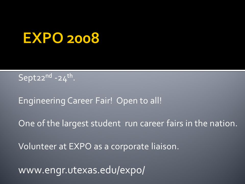 Sept22 nd -24 th. Engineering Career Fair. Open to all.