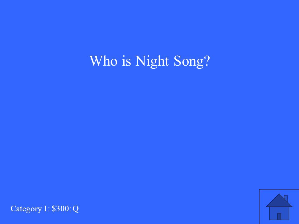 Who is Night Song? Category 1: $300: Q