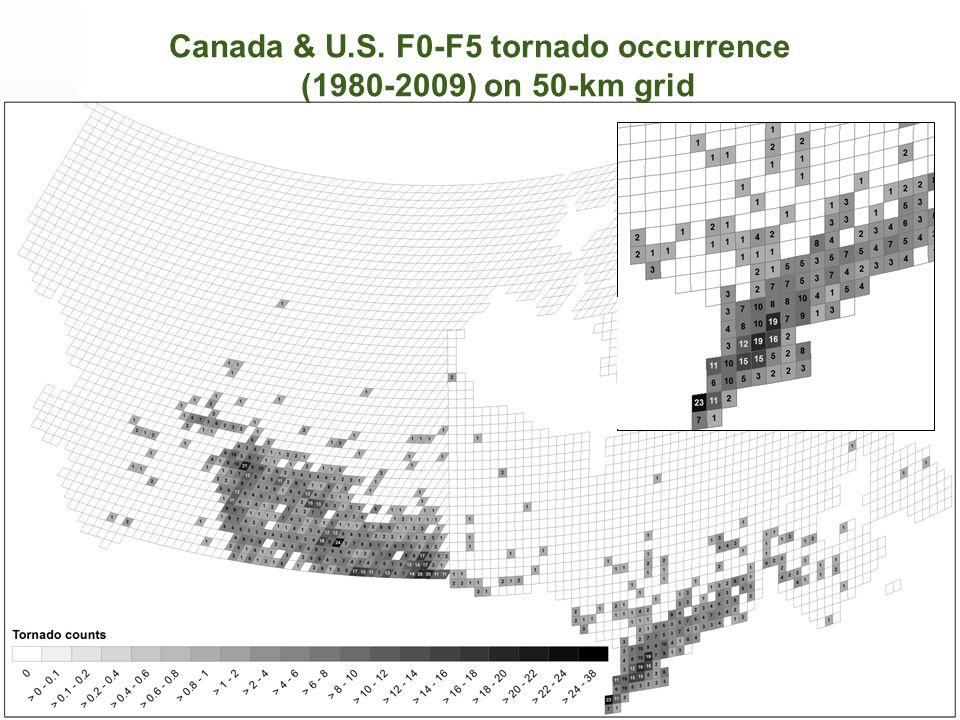 Canada & U.S. F0-F5 tornado occurrence (1980-2009) on 50-km grid