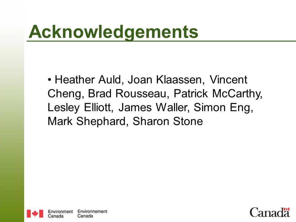 Acknowledgements Heather Auld, Joan Klaassen, Vincent Cheng, Brad Rousseau, Patrick McCarthy, Lesley Elliott, James Waller, Simon Eng, Mark Shephard, Sharon Stone
