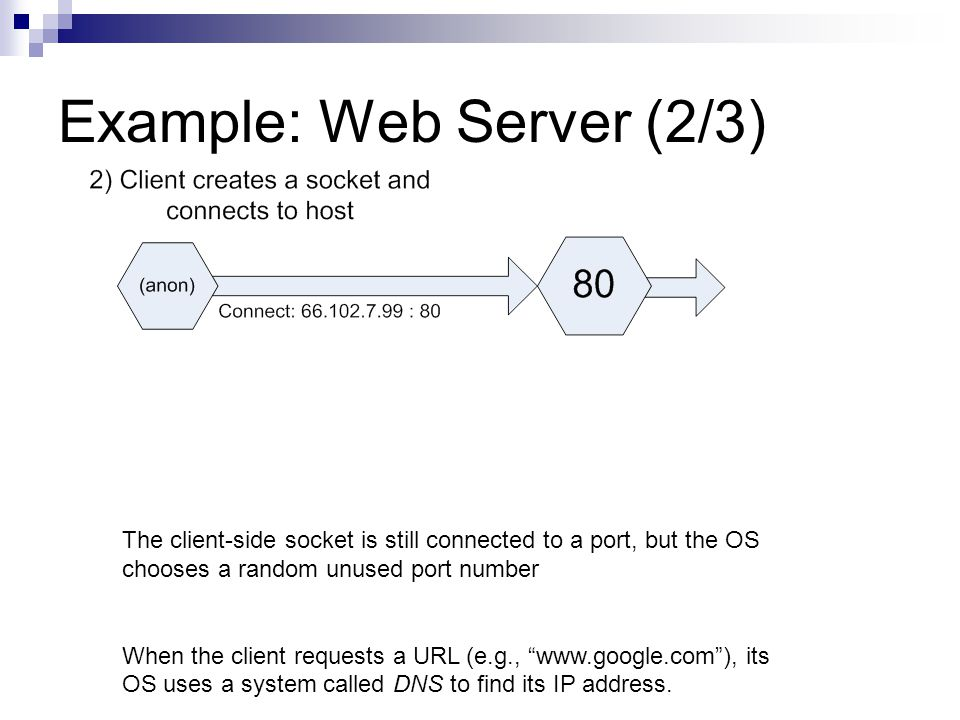 Example: Web Server (2/3) The client-side socket is still connected to a port, but the OS chooses a random unused port number When the client requests