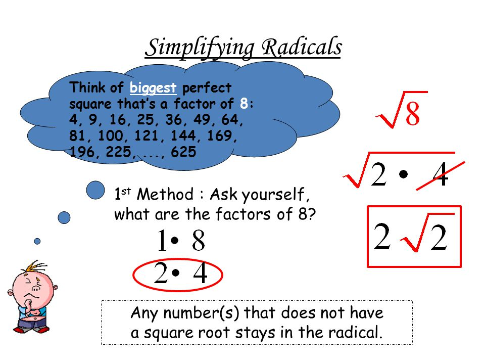 Simplifying Radicals 1 st Method : Ask yourself, what are the factors of 8.