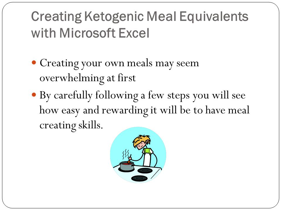 Creating Ketogenic Meal Equivalents with Microsoft Excel Creating your own meals may seem overwhelming at first By carefully following a few steps you