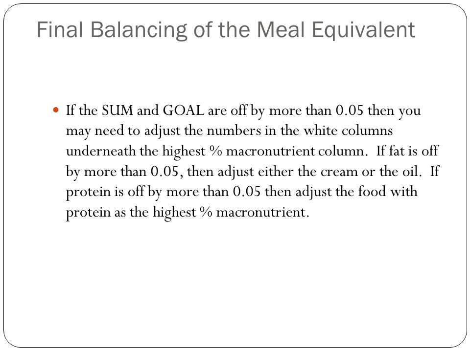 Final Balancing of the Meal Equivalent If the SUM and GOAL are off by more than 0.05 then you may need to adjust the numbers in the white columns underneath the highest % macronutrient column.