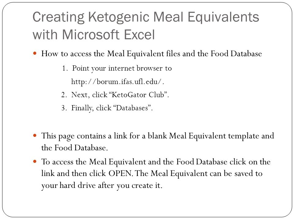 Step #1: Accessing Necessary Tools Once you open the blank Meal Equivalent template and Food Database : It might be easiest to expand the excel sheet by clicking on the expand key( a square) for the sheet.
