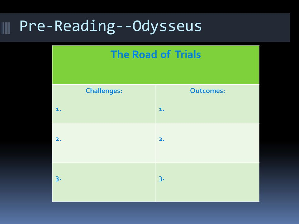 Pre-Reading--Odysseus The Road of Trials Challenges: 1. Outcomes: 1. 2. 3.